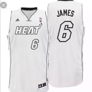 NWT Adidas Lebron James Jersey Miami Heat White